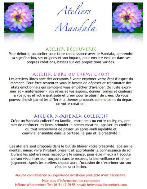 Atelier Mandala avec Hélène Wilbrenninck